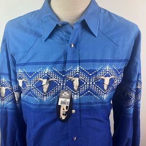 Roper Western Shirt LS Blue Pearl Snap Rodeo Skull